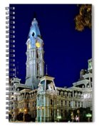 Philly City Hall At Night Spiral Notebook