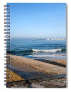 Pier And Beach By The Atlantic Ocean In Cascais Spiral Notebook
