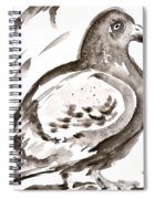 Pigeon I Sumi-e Style Spiral Notebook