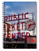 Pike Place Public Market Neon Sign Spiral Notebook