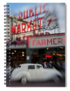 Pike Place Publice Market Neon Sign And Limo Spiral Notebook
