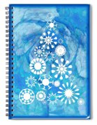 Pine Tree Snowflakes - Baby Blue Spiral Notebook