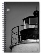 Piney Point Lighthouse And Moon In Black And White Spiral Notebook
