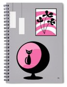 Pink 3 On Gray Spiral Notebook