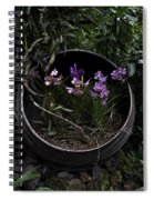 Pink And Purple Flowers In A Slanting Container Spiral Notebook