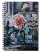 Pink And White Roses In Silver Mug Spiral Notebook
