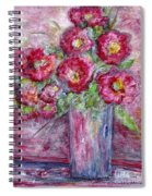 Pink Beauties In A Blue Crystal Vase Spiral Notebook