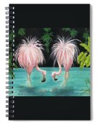 Pink Flamingo Booty Tropical Birds Art Cathy Peek Spiral Notebook