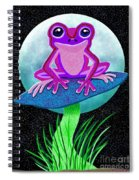 Pink Frog And Blue Moon Spiral Notebook