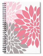 Pink Gray Peony Flowers Spiral Notebook