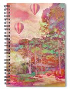 Pink Hot Air Balloons Abstract Nature Pastels - Dreamy Pastel Balloons Spiral Notebook