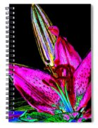 Pink Lily And Bud Pop Art Spiral Notebook