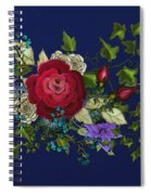 Pink Metallic Rose On Blue Spiral Notebook