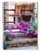 Pink Petunias And Watering Cans Spiral Notebook
