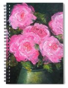 Pink Roses In A Brass Vase Spiral Notebook