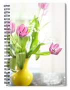 Pink Tulips In Yellow Vase Spiral Notebook