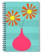 Pink Vase On Blue Spiral Notebook