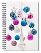 Pink White And Blue Christmas Spiral Notebook