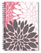 Pink White Grey Peony Flowers Spiral Notebook
