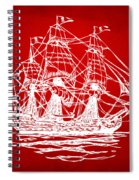 Pirate Ship Artwork - Red Spiral Notebook