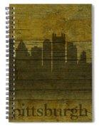 Pittsburgh Pennsylvania City Skyline Silhouette Distressed On Worn Peeling Wood Spiral Notebook