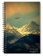 Plane Flying Over Mountains Spiral Notebook