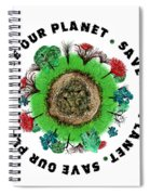 Planet Earth Icon With Slogan Spiral Notebook