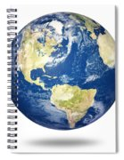 Planet Earth On White - America Spiral Notebook