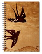 Playful Swallows Original Coffee Painting Spiral Notebook