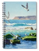 Point Loma Rocks Waves And Seagulls Spiral Notebook