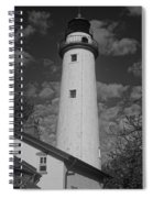 Pointe Aux Barques Lighthouse Black And White Spiral Notebook