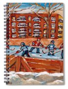 Pointe St. Charles Hockey Rink Southwest Montreal Winter City Scenes Paintings Spiral Notebook
