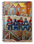 Pointe St. Charles Hockey Rinks Near Row Houses Montreal Winter City Scenes Spiral Notebook