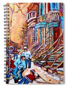 Pointe St.charles Hockey Game Near Winding Staircases Montreal Winter City Scenes Spiral Notebook