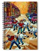 Pointe St.charles Hockey Game Winter Street Scenes Paintings Spiral Notebook