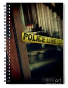 Police Tape Blocking Bloody Stairs Spiral Notebook