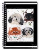 Polka Dot Family Pets With Borders - Whimsical Art Spiral Notebook