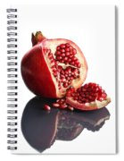Pomegranate Opened Up On Reflective Surface Spiral Notebook