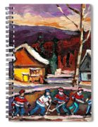 Pond Hockey Birch Tree And Mountain Spiral Notebook