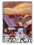 Pond Hockey Cozy Winter Scene Spiral Notebook