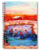 Pond Hockey Game By Montreal Hockey Artist Carole Spandau Spiral Notebook