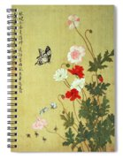 Poppies, Butterflies And Bees Ink And Colour On Silk Spiral Notebook