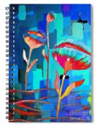 Poppies On Blue 1 Spiral Notebook