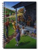 Porch Music And Flatfoot Dancing - Mountain Music - Farm Folk Art Landscape - Square Format Spiral Notebook