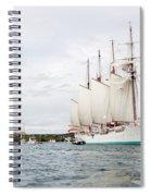 Juan Sebastian De Elcano Famous Tall Ship Of Spanish Navy Visits Port Mahon In Front Of Bloody Islan Spiral Notebook