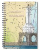 Port Washington Lighthouse Wi Nautical Chart Map Art Spiral Notebook
