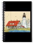 Portland Head Lighthouse Me Nautical Chart Map Art Spiral Notebook