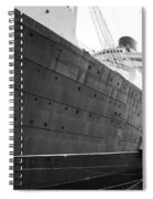 Portside Bw Queen Mary Ocean Liner Long Beach Ca Spiral Notebook