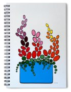 Potted Blooms - Blue Spiral Notebook