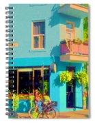 Powder Blue Corner Cafe Elses Pub Rue Roy  Montreal Sunny Summer Cafe Scene Carole Spandau Spiral Notebook